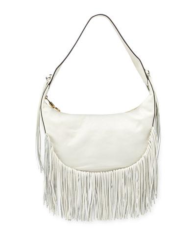 Zoe Smooth Leather Hobo Bag w/ Fringe, Ivory