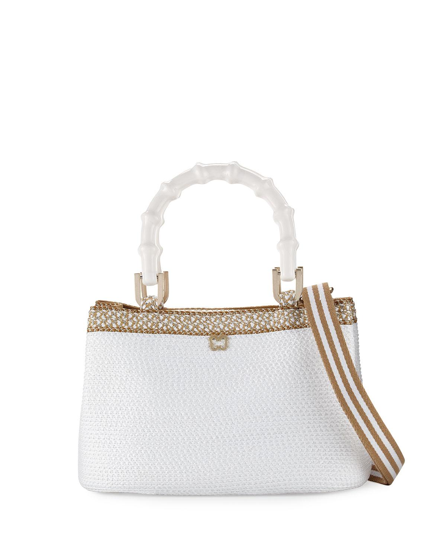 Leila Bamboo-Handle Tote Bag, White