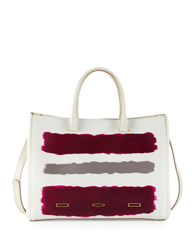 Pandora Vitello Leather Tote Bag, Beige