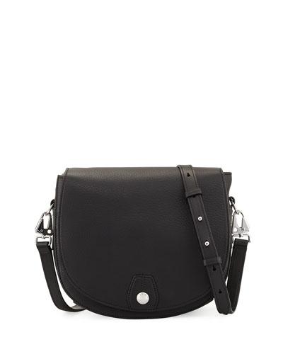 Flight Leather Saddle Bag, Black