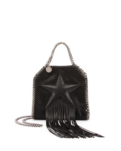 Falabella Fringed Star Tiny Tote, Black