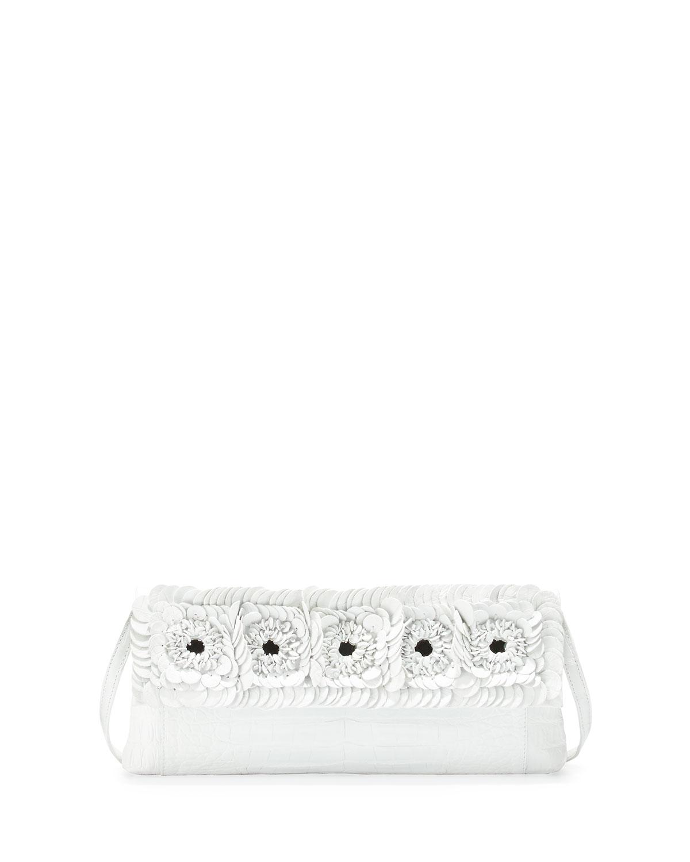 Crocodile Floral Flap Clutch Bag, White