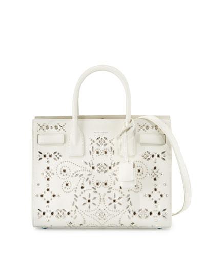 Sac de Jour Baby Bandana Embroidery Satchel Bag, White