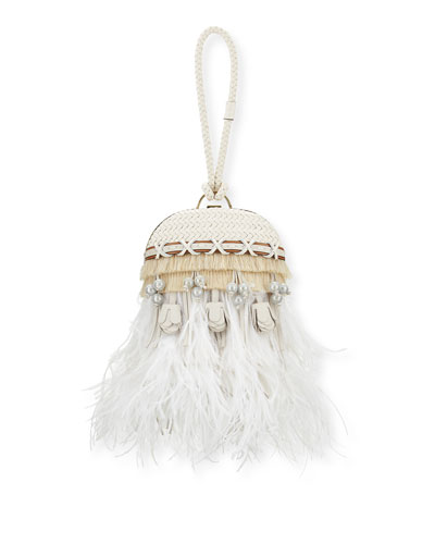 Embellished Feather Dome Clutch Bag, Porcelain White