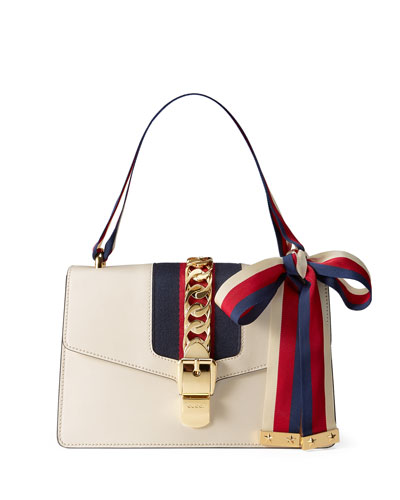 Sylvie Grosgrain-Striped Shoulder Bag, White/Red/Blue