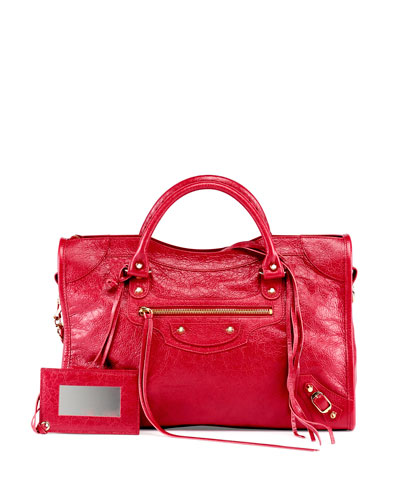Classic Gold City Lambskin Tote Bag, Cherry Red