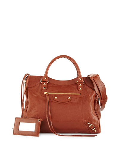 Classic Gold Velo AJ Leather Bag, Cognac