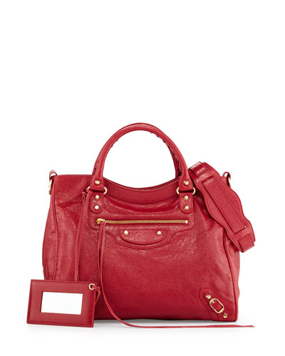Classic Gold Velo AJ Leather Bag, Cherry Red