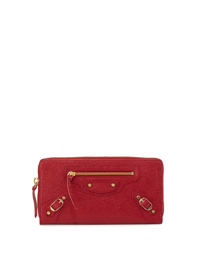 Classic Golden Lambskin Zip Continental Wallet, Cherry Red