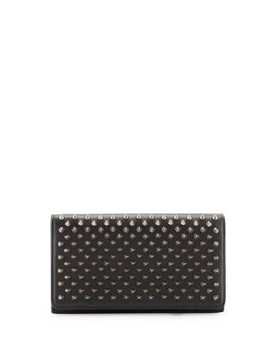 Macaron Spiked Flap Wallet, Black/Gunmetal