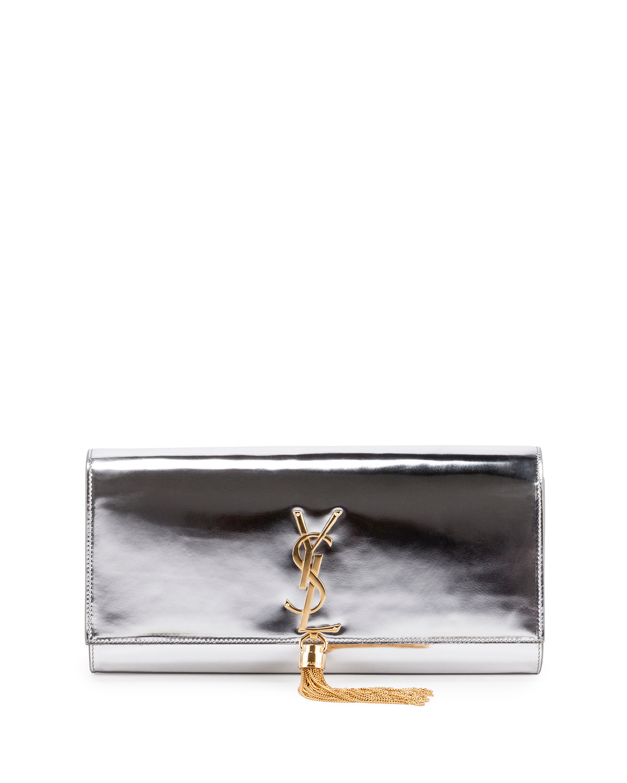 Monogram Metallic Tassel Clutch Bag, Silver