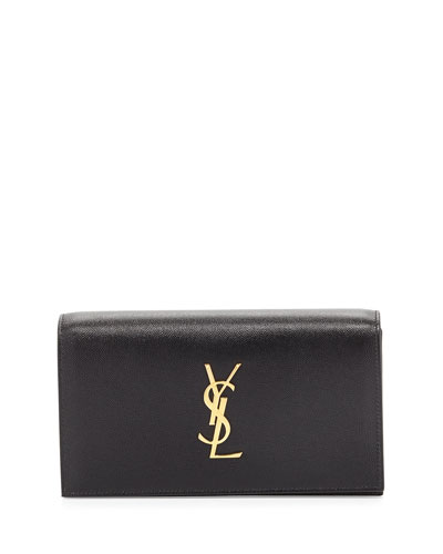 Monogram Grain Calfskin Clutch Bag, Black