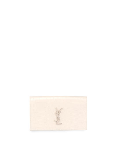 Monogram Croc-Embossed Clutch Bag, White