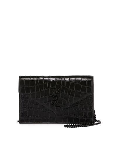 Monogram Croc-Stamped Wallet-on-a-Chain, Black