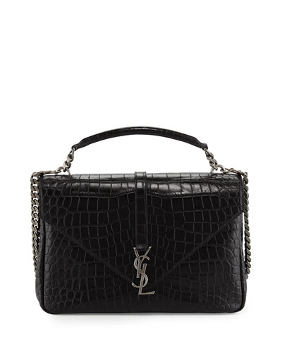 Monogram College Large Crocodile-Embossed Shoulder Bag, Black