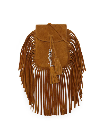 Anita Mini Flat Shoulder Bag w/Fringe, Tan