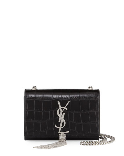 Monogram Small Croc-Stamped Shoulder Bag, Black