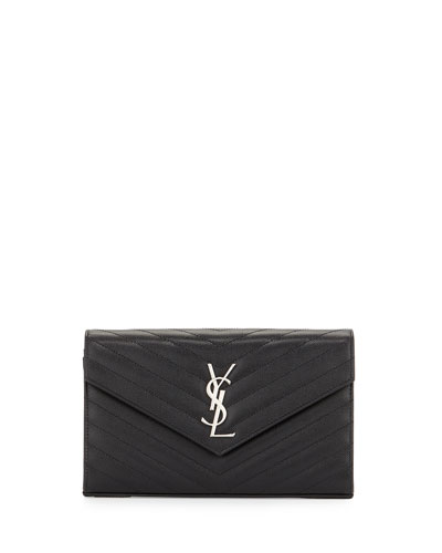 Grain de Poudre Calfskin Wallet-on-Chain, Black