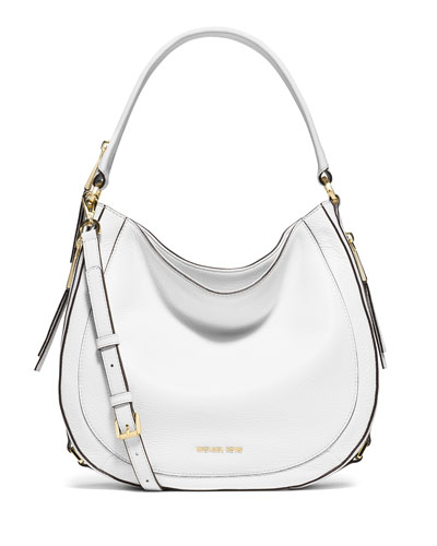 Julia Medium Leather Convertible Shoulder Bag, Optic White