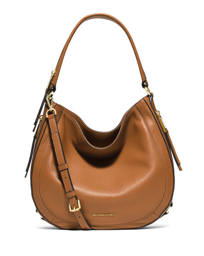 Julia Medium Leather Convertible Shoulder Bag, Acorn
