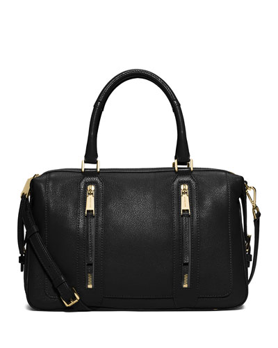 Julia Large Leather Satchel Bag, Black