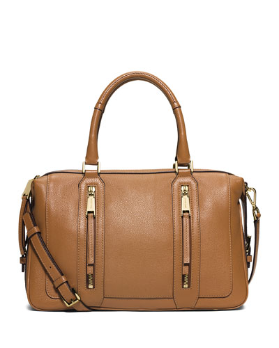 Julia Large Leather Satchel Bag, Acorn