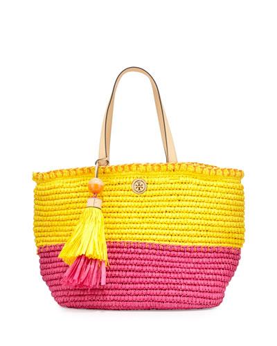 Small Straw Tote Bag, Sunbeam/Orange Crush/Fiesta