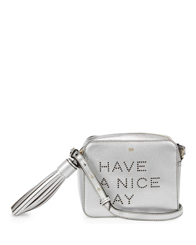 Have a Nice Day Crossbody Bag, Silver