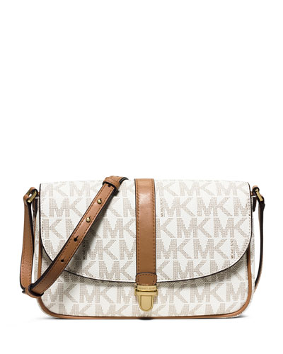 Charlton Large Leather Crossbody Bag, Vanilla