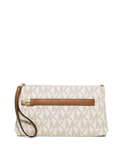 Charlton Medium Leather Wristlet, Vanilla