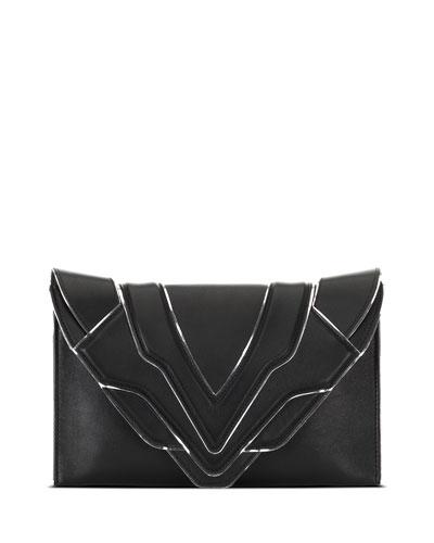 Selina Silver Line Clutch Bag, Black/Silver Mirror