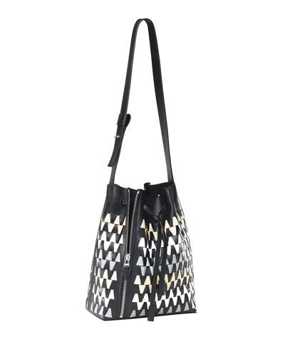 Leo Graphic Woven Medium Bucket Bag, Neutral/Black