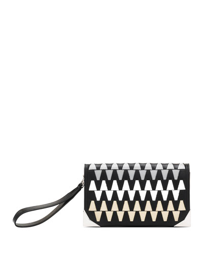 Petra P Graphic Woven Small Clutch Bag, Graphic Neutral