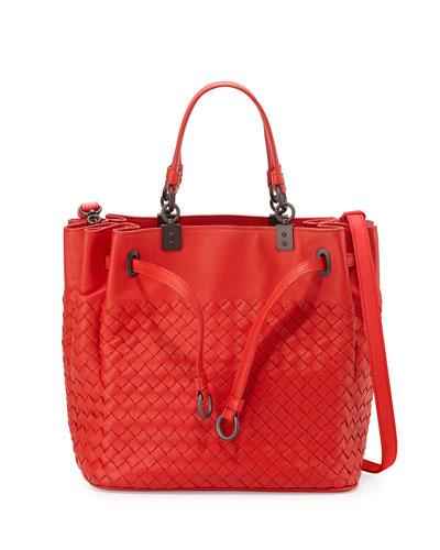 Woven Intrecciato Pleated Tote Bag, Bright Red
