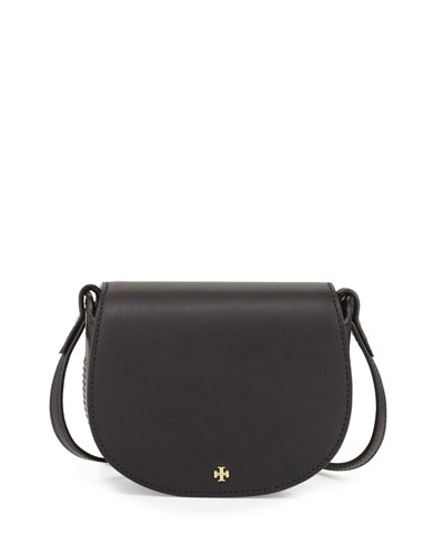 Mini Leather Saddle Bag, Black