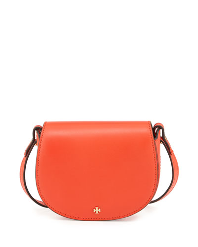 Mini Leather Saddle Bag, Poppy Red