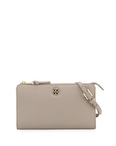 Robinson Pebbled Leather Crossbody Wallet, French Gray