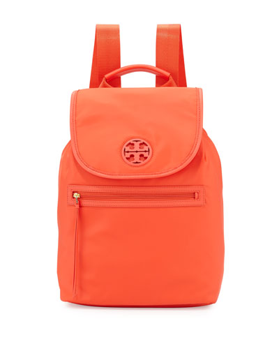 Nylon Flap-Top Backpack, Poppy Red