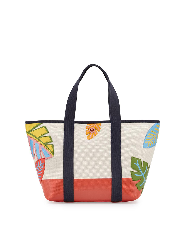 Leaf-Applique Canvas Beach Tote Bag, Natural