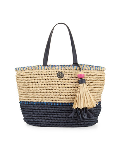 Small Straw Tote Bag, Toast/Tory Navy/Bondi Blue
