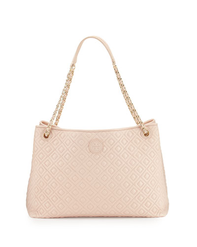 Marion Chain-Strap Shoulder Slouch Bag, Pale Apricot