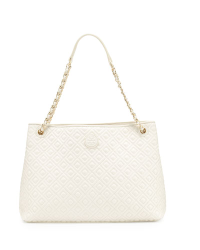 Marion Chain-Strap Shoulder Slouch Bag, New Ivory