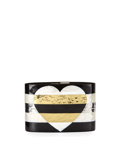 Andra Flask Minaudiere, Black/White Golden