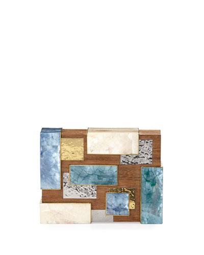 Rayma Cubist Minaudiere, Wood Multi
