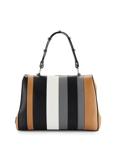 Baiadera Striped Leather Satchel Bag, Camel/Black/Gray (Caramelo+Nero+Gris)