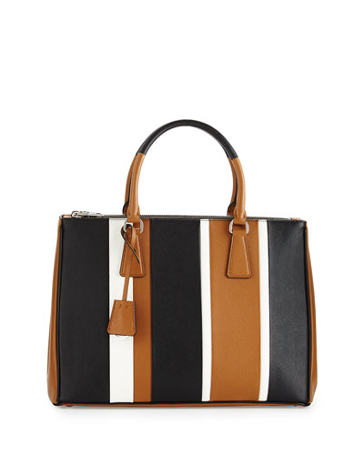 Saffiano Baiadera Striped Galleria Tote Bag, Camel/White/Black