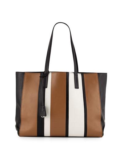 Leather Baiadera Striped Tote Bag, Black/Camel/White (Nero+Caramel+Bianco)