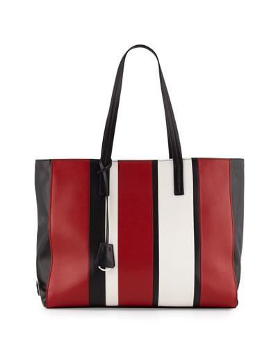 Leather Baiadera Striped Tote Bag, Black/Red/White (Nero+Fuoco+Bianco)
