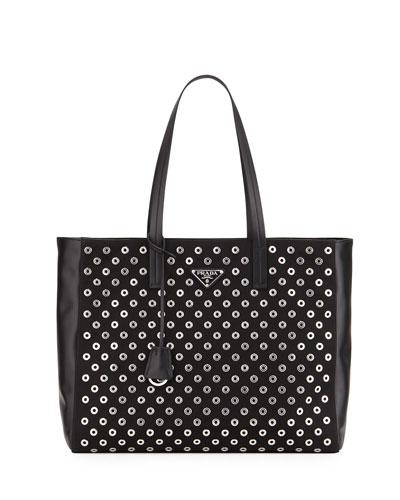 Tessuto Grommets Tote Bag, Black (Nero)