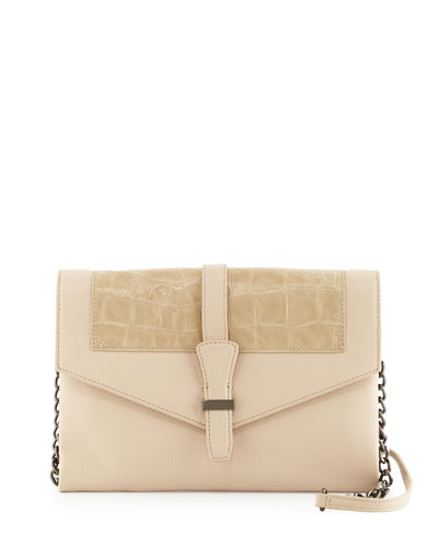 Adelle Crocodile-Embossed Leather Crossbody Bag, Latte